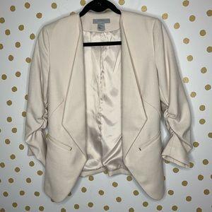 H&M Ruched Sleeve Textured Blazer